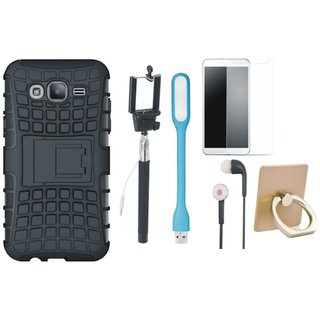 Oppo F7 Defender Tough Hybrid Shockproof Cover with Ring Stand Holder, Free Selfie Stick, Tempered Glass, Earphones and LED Light