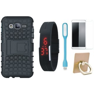 Oppo F7 Defender Tough Hybrid Shockproof Cover with Ring Stand Holder, Free Digital LED Watch, Tempered Glass and LED Light