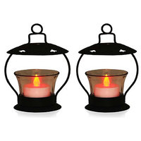 Set Of 2 Tea-light Holder With Red LED Light