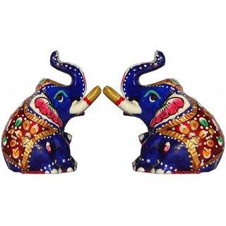 Set of 2 Haveli Arts Metal Elephant With Meena Art