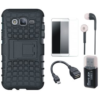 Samsung On7 Prime Shockproof Kick Stand Defender Back Cover with Memory Card Reader, Tempered Glass, Earphones and OTG Cable