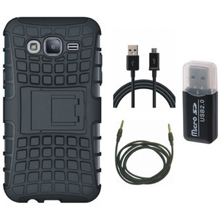 Samsung On7 Prime Shockproof Kick Stand Defender Back Cover with Memory Card Reader, USB Cable and AUX Cable