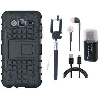 Samsung On7 Prime Shockproof Kick Stand Defender Back Cover with Memory Card Reader, Selfie Stick, Earphones and USB Cable