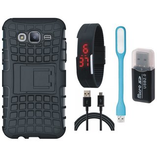 Samsung On7 Prime Shockproof Kick Stand Defender Back Cover with Memory Card Reader, Digital Watch, USB LED Light and USB Cable