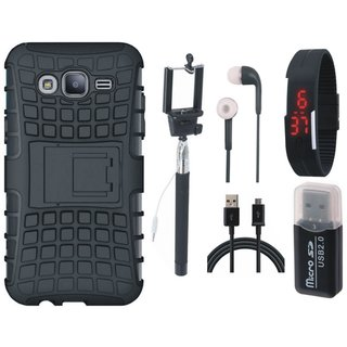 Samsung On7 Prime Shockproof Kick Stand Defender Back Cover with Memory Card Reader, Selfie Stick, Digtal Watch, Earphones and USB Cable