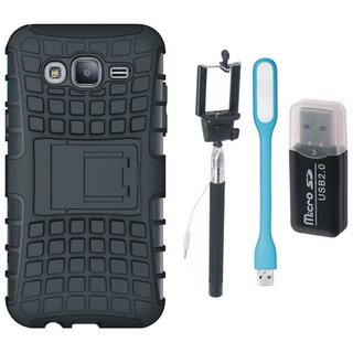 Samsung On7 Prime Shockproof Kick Stand Defender Back Cover with Memory Card Reader, Selfie Stick and USB LED Light