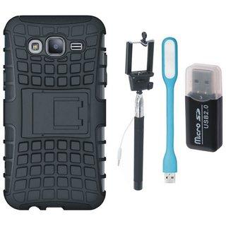 Samsung On7 Prime Shockproof Kick Stand Defender Back Cover with Memory Card Reader, Selfie Stick and USB LED Light