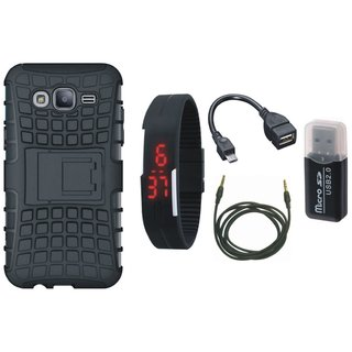 Samsung On7 Prime Shockproof Kick Stand Defender Back Cover with Memory Card Reader, Digital Watch, OTG Cable and AUX Cable