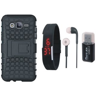 Samsung On7 Prime Shockproof Kick Stand Defender Back Cover with Memory Card Reader, Digital Watch and Earphones