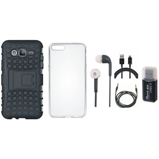 Samsung On7 Prime Shockproof Kick Stand Defender Back Cover with Memory Card Reader, Silicon Back Cover, Earphones, USB Cable and AUX Cable