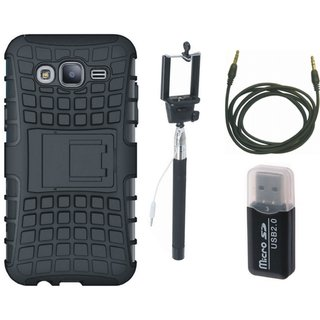 Samsung On7 Prime Shockproof Kick Stand Defender Back Cover with Memory Card Reader, Selfie Stick and AUX Cable
