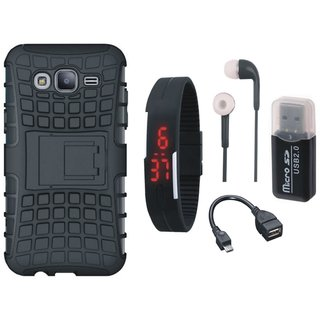 Samsung On7 Prime Shockproof Kick Stand Defender Back Cover with Memory Card Reader, Digital Watch, Earphones and OTG Cable
