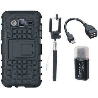 Samsung On7 Prime Shockproof Kick Stand Defender Back Cover with Memory Card Reader, Selfie Stick and OTG Cable