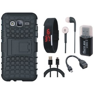 Samsung On7 Prime Shockproof Kick Stand Defender Back Cover with Memory Card Reader, Digital Watch, Earphones, OTG Cable and USB Cable