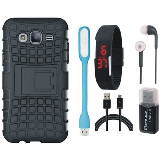 Samsung On7 Prime Shockproof Kick Stand Defender Back Cover with Memory Card Reader, Digital Watch, Earphones, USB LED Light and USB Cable