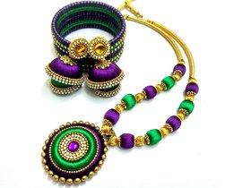 FY Violet green silk thread jewellery set