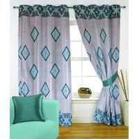 Fabutex Glitter Blue Geometrical Panel Door Curtain