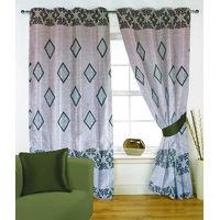 Fabutex Glitter Light Blue Geometrical Panel Door Curtain
