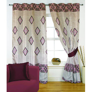 Fabutex Glitter Pink Geometrical Panel Door Curtain