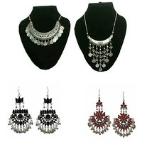 Combo of 2 fashion oxidised necklace + afghani earring pair of 2