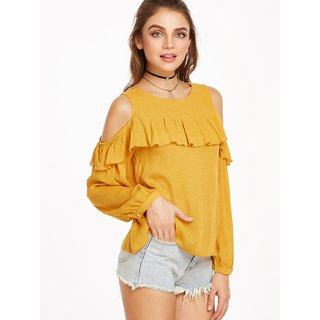 670e8e9aae966 Buy Raabta Fashion mustard cold shoulder top Online - Get 69% Off