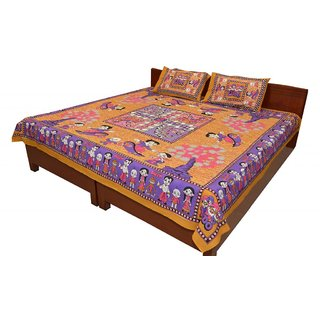 Grj India Designer Sanganeri Print Jaipuri Cotton Double Bed Sheet with 2 Pillow Covers (GRJ-2579)