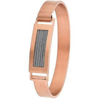 Dare by Voylla Rose Gold Plated Cuff Link Bracelet for Men