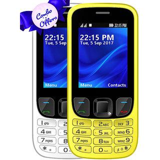 Set of 2 IKall K6303 Yellow+White, Dual Sim  2.4 Inch, 1800mAh Battery