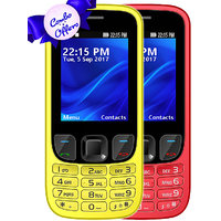 Set of 2 IKall K6303 Yellow+RED, Dual Sim  2.4 Inch, 1800mAh Battery  (No Earphones)