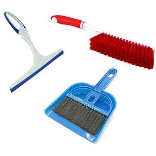 De Ultimate Combo Of Mini Dustpan Broom Set, Carpet / Mats Cleaning Plastic Brush With Non Scratch Window Glass Wiper
