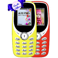 Combo of IKall K31 (Dual Sim, 1.8 Inch Display, 800 Mah Battery, Yellow and Red) (No Earphones)