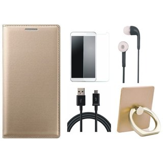 Redmi Note 5 Pro Leather Cover with Ring Stand Holder, Earphones, Tempered Glass and USB Cable
