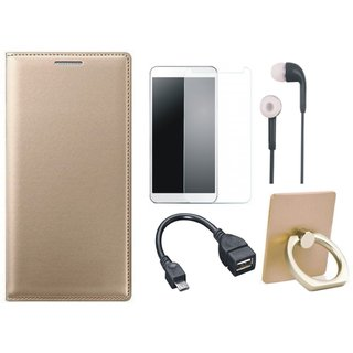Redmi Note 5 Pro Leather Cover with Ring Stand Holder, Tempered Glass, Earphones and OTG Cable