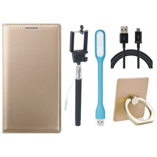 Redmi Note 5 Pro Leather Cover with Ring Stand Holder, Selfie Stick, USB LED Light and USB Cable