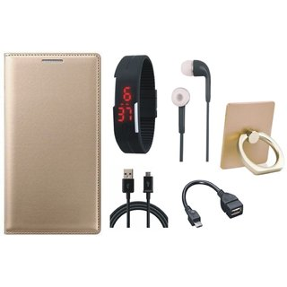 Redmi Note 5 Pro Leather Cover with Ring Stand Holder, Digital Watch, Earphones, OTG Cable and USB Cable