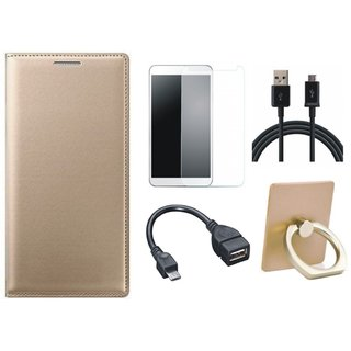 Redmi Note 5 Pro Leather Cover with Ring Stand Holder, Tempered Glass, OTG Cable and USB Cable