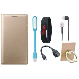 Redmi Note 5 Pro Leather Cover with Ring Stand Holder, Digital Watch, Earphones, USB LED Light and OTG Cable