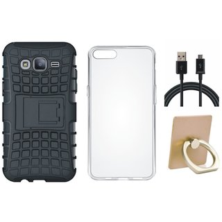 Vivo V9 Shockproof Tough Defender Cover with Ring Stand Holder, Silicon Back Cover, USB Cable