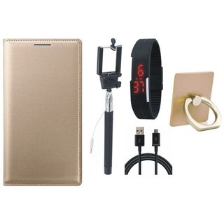 Redmi Note 5 Pro Leather Cover with Ring Stand Holder, Selfie Stick, Digtal Watch and USB Cable