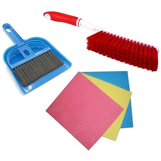 De Ultimate Combo Of Mini Dustpan Broom Set, Carpet / Mats Cleaning Plastic Brush With Super Absorbent Pad Sponge Wipes