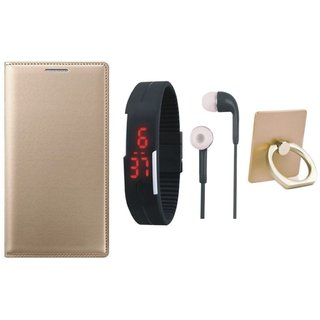 Redmi Note 5 Pro Flip Cover with Ring Stand Holder, Digital Watch and Earphones