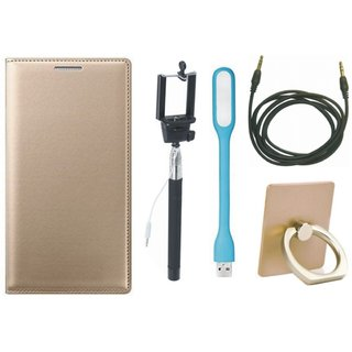 Redmi Note 5 Pro Flip Cover with Ring Stand Holder, Selfie Stick, USB LED Light and AUX Cable