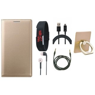 Redmi Note 5 Pro Flip Cover with Ring Stand Holder, Digital Watch, Earphones, USB Cable and AUX Cable