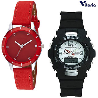 Vitoria Dual time DigitalAnalogue Sports Watch With Womens Fashionable Watch (Couple Combo)