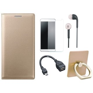 Redmi Note 5 Pro Flip Cover with Ring Stand Holder, Tempered Glass, Earphones and OTG Cable