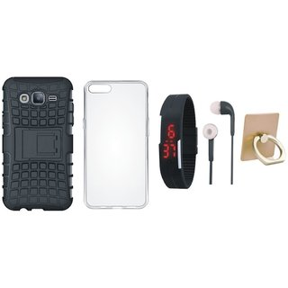 Oppo F7 Dual Protection Defender Back Case with Ring Stand Holder, Silicon Back Cover, Digital Watch and Earphones