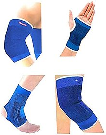 kudos Combo Ankle + Knee + Elbow + Palm Support Pairs for GYM Exercise Grip
