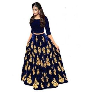 New Designer Nevy Blue Colour Velvet Material Wedding and Party Wear Lehengha choli (BLUEMS)