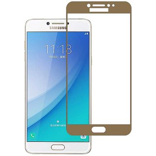 Stuffcool Mighty 2.5D Full Screen Tempered Glass Screen Protector for Samsung Galaxy C7 Pro - Gold