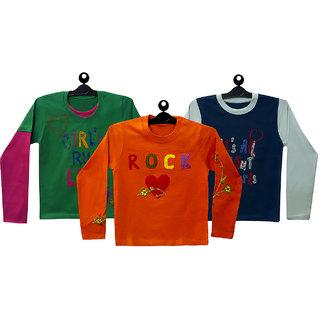 Girls Graphic Tee / Tops orange,Blue,Green/Combo of 3
